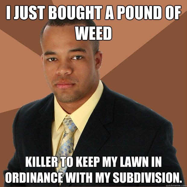 I just bought a pound of weed killer to keep my lawn in ordinance with my subdivision.  - I just bought a pound of weed killer to keep my lawn in ordinance with my subdivision.   Successful Black Man
