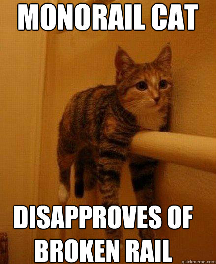 MONORAIL CAT DISAPPROVES OF  BROKEN RAIL