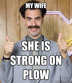 My wife She is strong on plow