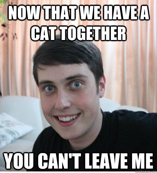 Now that we have a cat together you can't leave me   Overly Attached Boyfriend