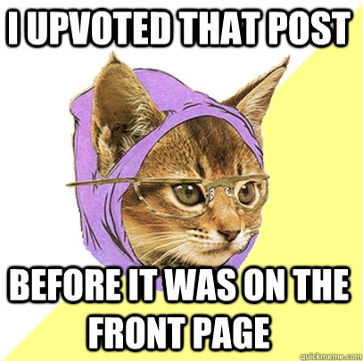 I upvoted that post Before it was on the front page - I upvoted that post Before it was on the front page  Hipster Kitty