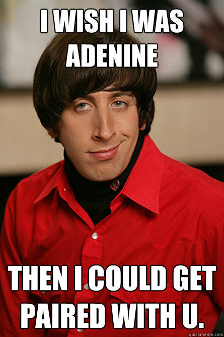 I wish I was adenine  then I could get paired with U. - I wish I was adenine  then I could get paired with U.  Pickup Line Scientist