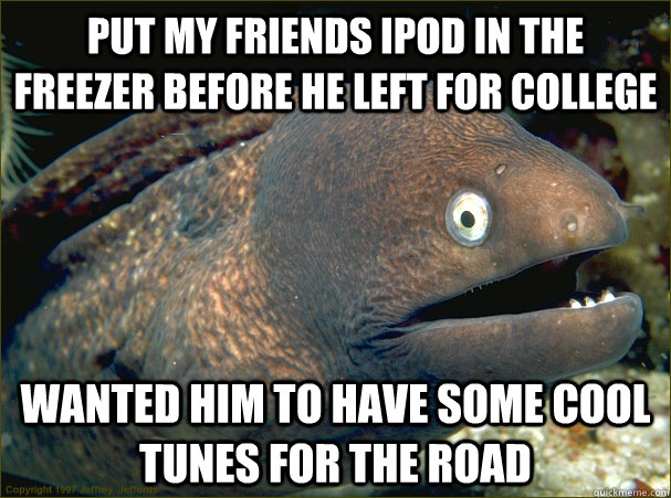 Put my friends Ipod in the freezer before he left for college Wanted him to have some cool tunes for the road  Bad Joke Eel