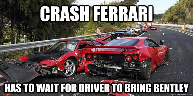 crash ferrari has to wait for driver to bring bentley