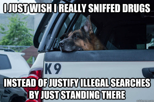 i just wish i really sniffed drugs instead of justify illegal searches by just standing there - i just wish i really sniffed drugs instead of justify illegal searches by just standing there  k9 unit