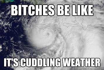 Bitches BE LIKE IT'S CUDDLING WEATHER