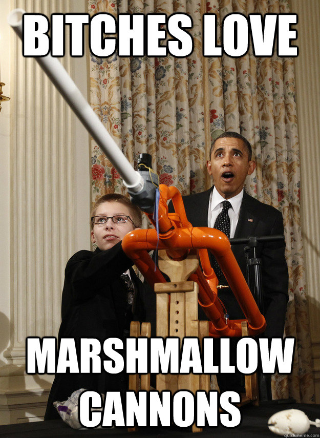 Bitches love marshmallow cannons  OMG Obama