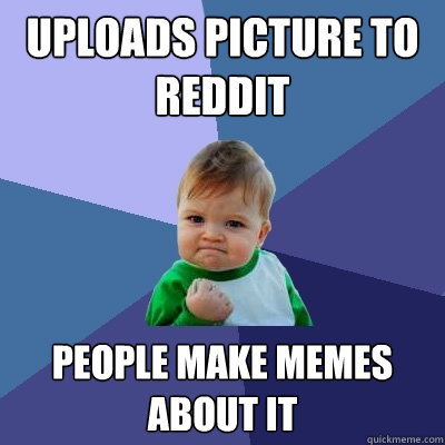 Uploads Picture to reddit people make memes about it - Uploads Picture to reddit people make memes about it  Success Kid