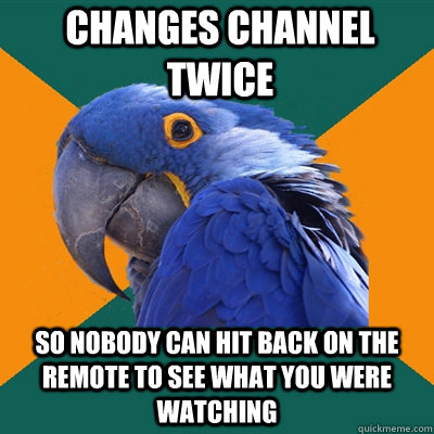 changes channel twice so nobody can hit back on the remote to see what you were watching - changes channel twice so nobody can hit back on the remote to see what you were watching  Paranoid Parrot