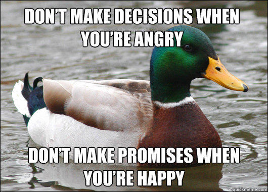 Don't Make Decisions When You're Angry Don't Make Promises When You're Happy  Actual Advice Mallard