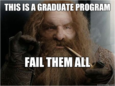 This is a graduate program       Fail them all  - This is a graduate program       Fail them all   Gimli approves