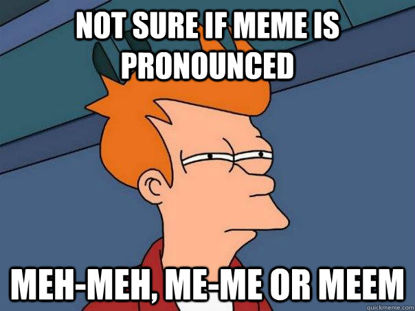 not sure if meme is pronounced meh-meh, me-me or meem - not sure if meme is pronounced meh-meh, me-me or meem  Futurama Fry