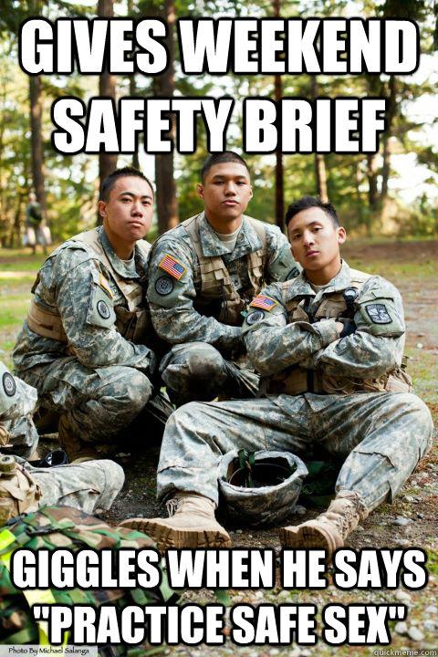 1f493cf22fc5eb4324663f22c0ef4970beeb659a5b818699a7c104f947d0b52a completes online sere training dies hooah rotc cadet quickmeme,Safety Brief Meme