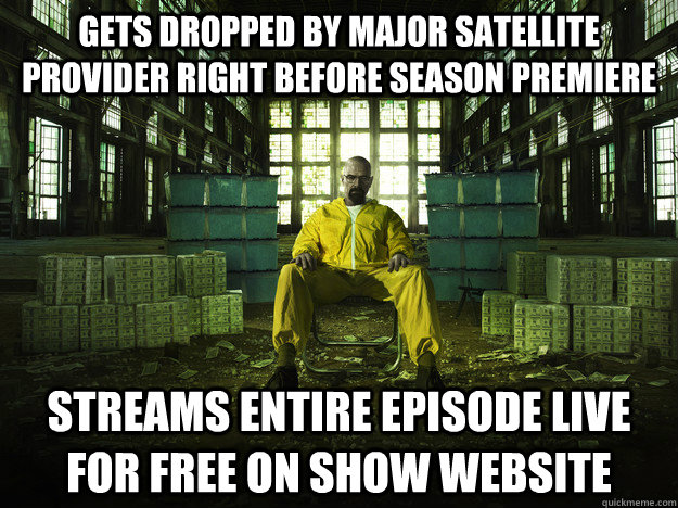 Gets dropped by major satellite provider right before season premiere  Streams entire episode live for