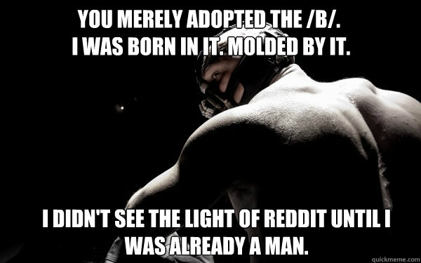You merely adopted the /b/.  I was born in it. molded by it. I didn't see the light of reddit until I was already a man.