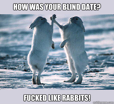 How was your blind date? Fucked like rabbits!