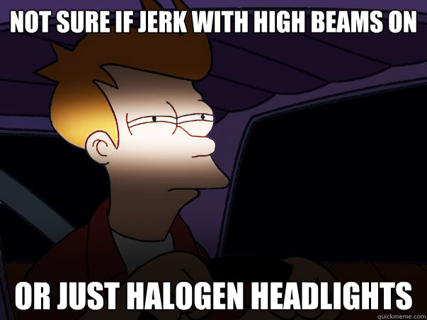 not sure if jerk with high beams on or just halogen headlights  Fry Driving at Night
