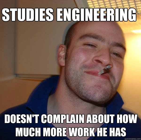 Studies Engineering Doesn't complain about how much more work he has - Studies Engineering Doesn't complain about how much more work he has  Misc