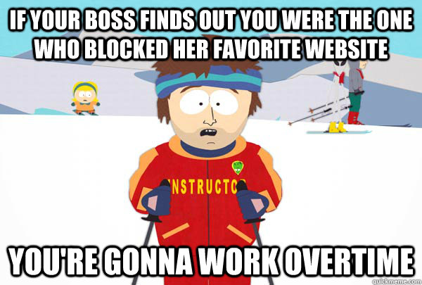 If your boss finds out you were the one who blocked her favorite website You're gonna work overtime - If your boss finds out you were the one who blocked her favorite website You're gonna work overtime  Super Cool Ski Instructor