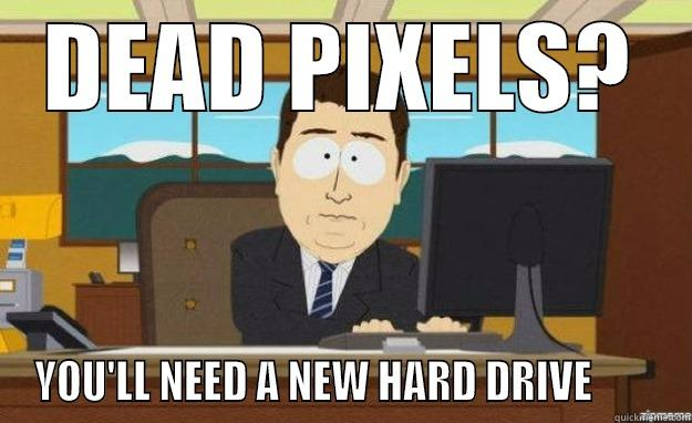 DEAD PIXELS? YOU'LL NEED A NEW HARD DRIVE        aaaand its gone