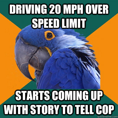 Driving 20 mph over speed limit Starts coming up with story to tell cop - Driving 20 mph over speed limit Starts coming up with story to tell cop  Paranoid Parrot