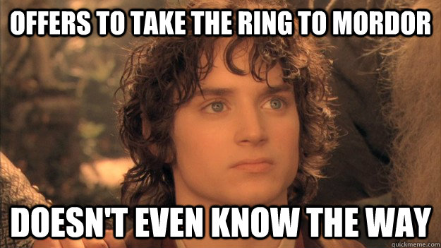 OFFERS to take the ring to mordor doesn't even know the way