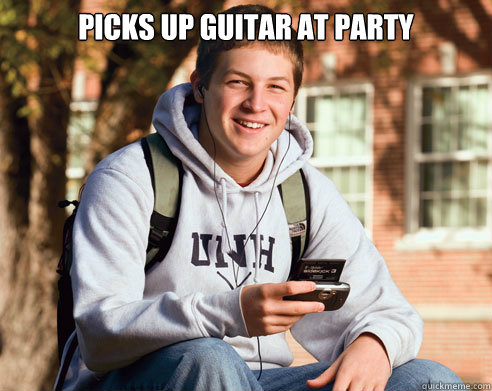 Picks up guitar at party  - Picks up guitar at party   College Freshman
