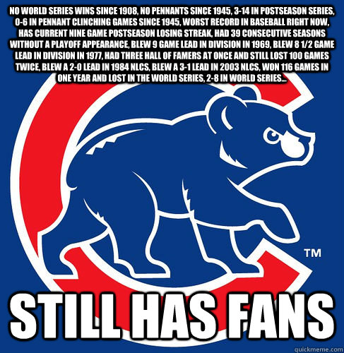 No World Series wins since 1908, no pennants since 1945, 3-14 in postseason series, 0-6 in pennant clinching games since 1945, worst record in baseball right now, has current nine game postseason losing streak, had 39 consecutive seasons without a playoff  Cubs Suck