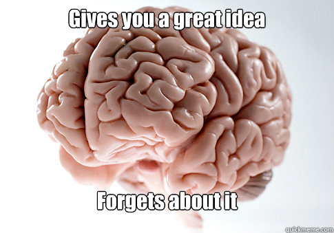 Gives you a great idea Forgets about it  Scumbag Brain