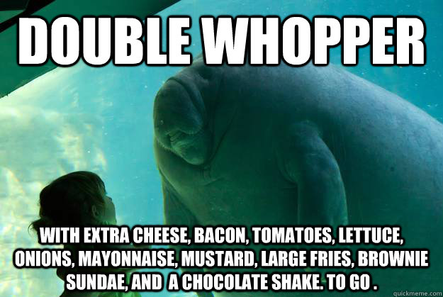 double whopper with extra cheese, bacon, tomatoes, lettuce, onions ...