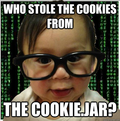 Who stole the cookies from The cookie.jar? - Who stole the cookies from The cookie.jar?  Baby programmer
