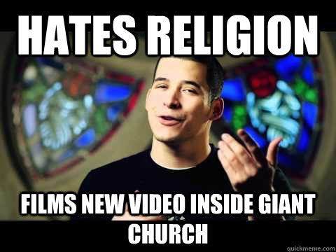 Hates Religion films new video inside giant church