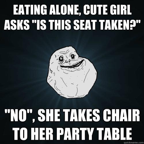 Eating alone, Cute girl asks