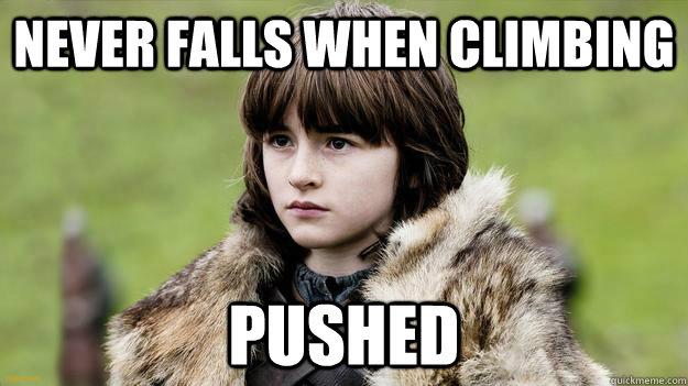 Never falls when climbing Pushed