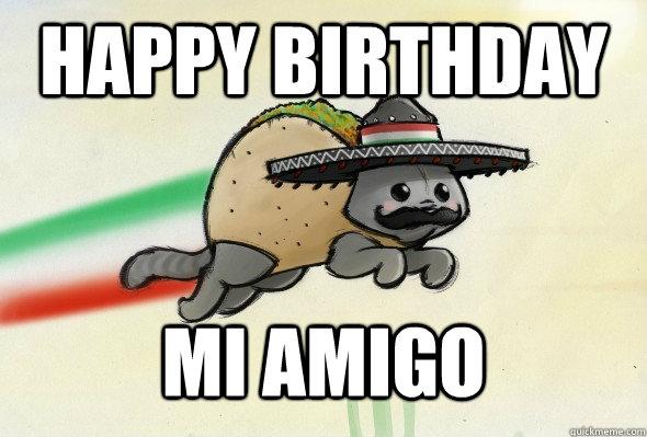 Happy Birthday Mexican Funny Meme : Happy birthday mi amigo mixican taco cat