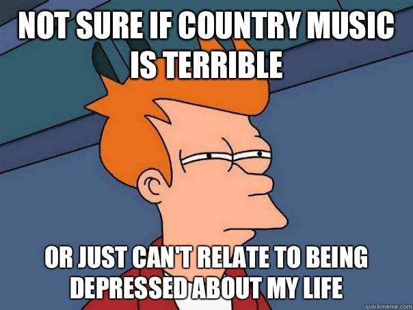 Funny Country Music Meme : Not sure if country music is terrible or just can t relate