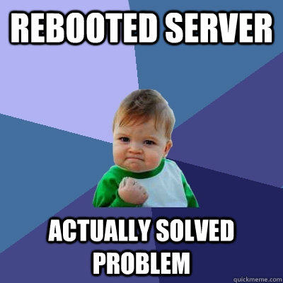 Rebooted Server actually solved problem - Rebooted Server actually solved problem  Success Kid