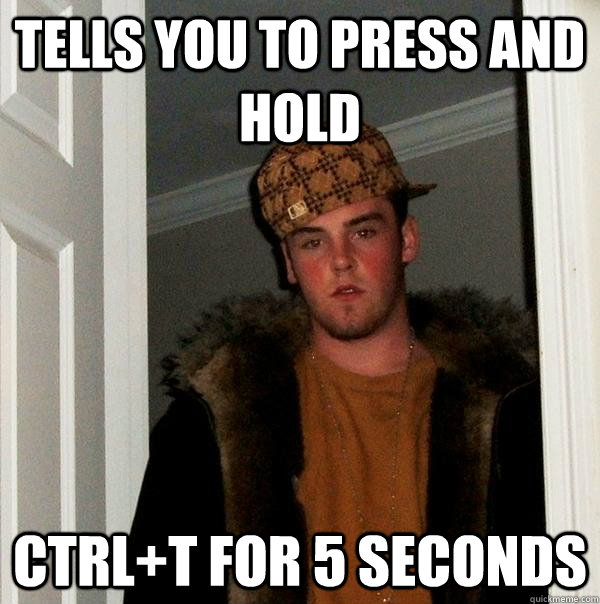tells you to press and hold ctrl+T for 5 seconds  Scumbag Steve
