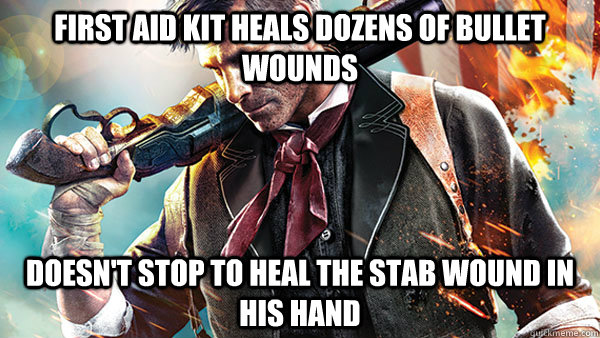 first aid kit heals dozens of bullet wounds doesn't stop to heal the stab wound in his hand - first aid kit heals dozens of bullet wounds doesn't stop to heal the stab wound in his hand  Misc