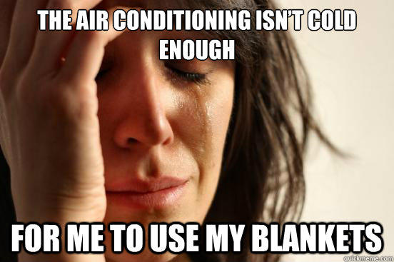 The air conditioning isn't cold enough For me to use my blankets - The air conditioning isn't cold enough For me to use my blankets  First World Problems