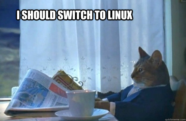 I should switch to linux - I should switch to linux  Sophisticated Cat