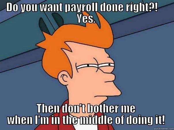 Do you want payroll done right?! - DO YOU WANT PAYROLL DONE RIGHT?!     YES. THEN DON'T BOTHER ME WHEN I'M IN THE MIDDLE OF DOING IT! Futurama Fry