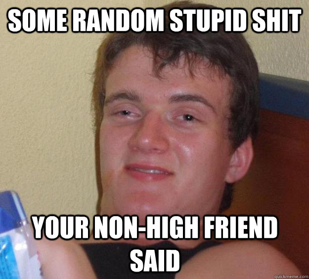 Some random stupid shit Your non-high friend said - Some random stupid shit Your non-high friend said  10 Guy
