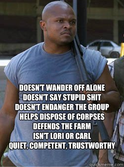 Doesn't wander off alone Doesn't Say Stupid Shit Doesn't endanger the Group Helps dispose of corpses Defends the farm Isn't Lori or Carl quiet, competent, trustworthy