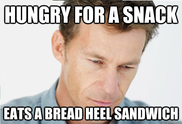 Hungry for a snack eats a bread heel sandwich - Hungry for a snack eats a bread heel sandwich  Sacrificing Father