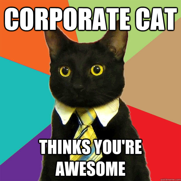 Corporate Cat Thinks You're Awesome - Corporate Cat Thinks You're Awesome  Business Cat