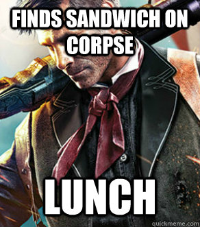 Finds sandwich on corpse lunch - Finds sandwich on corpse lunch  Dewitt.