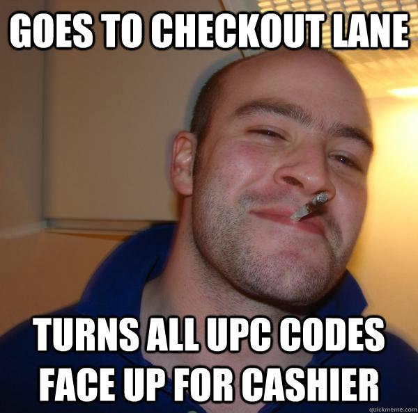 Goes to checkout lane turns all UPC codes face up for cashier - Goes to checkout lane turns all UPC codes face up for cashier  Misc