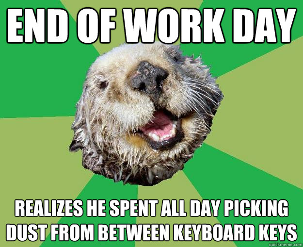 216083115239cd7faf88c9cf88931222166e9b30ddcb82bf1e4658ba41711b63 end of work day realizes he spent all day picking dust from