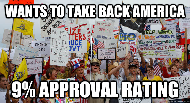 wants to take back america 9% approval rating